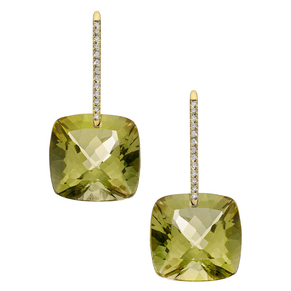 Reid Earrings Yellow Gold Olive Quartz