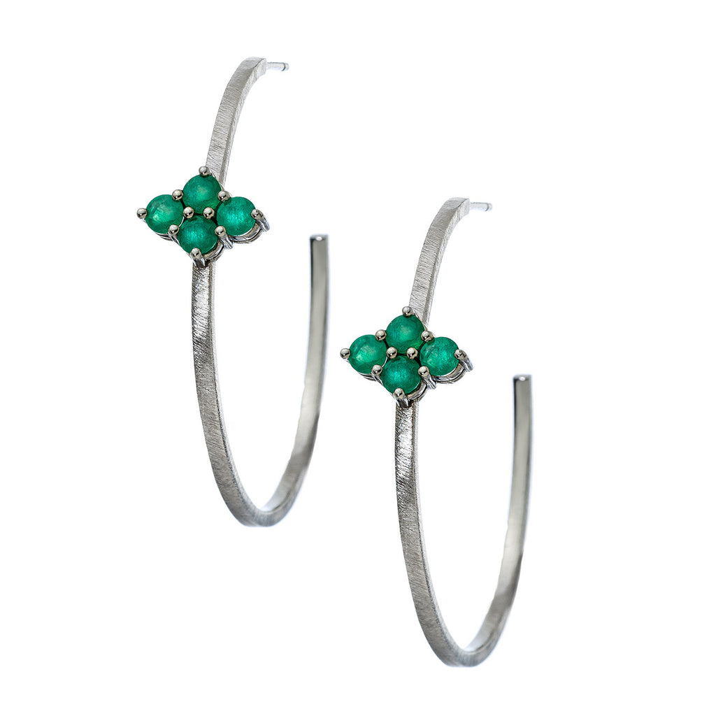 Asher Hoops Silver Emerald