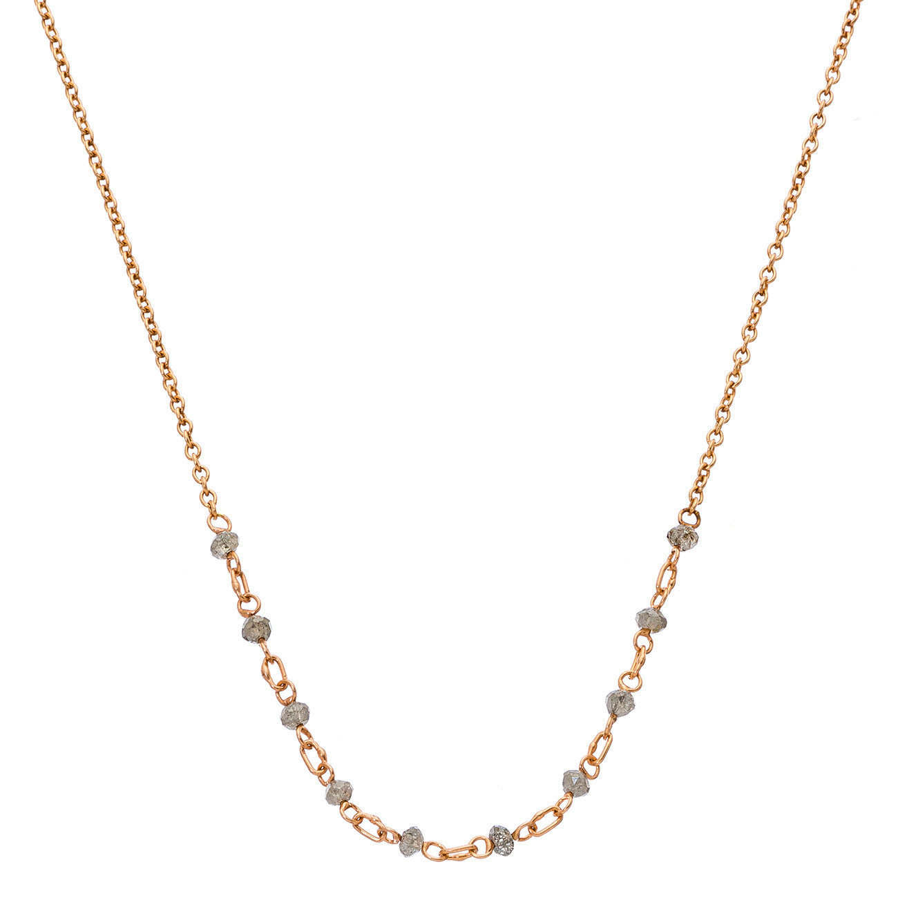 "Lola Necklace 16"" Rose Gold Champagne Diamond"