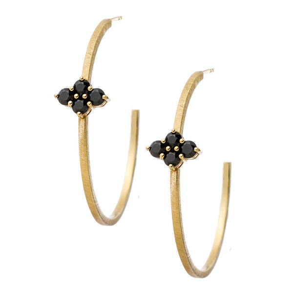 Asher Hoops Yellow Gold Black Diamond