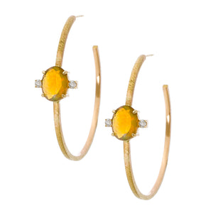 Hilly Hoops Yellow Gold Opal