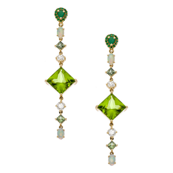 Sol Earrings Peridot Yellow Gold