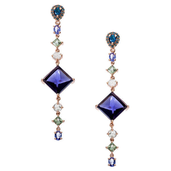 Sol Earrings Iolite Rose Gold
