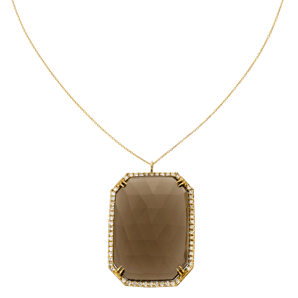 Tina Necklace Yellow Gold Smokey Quartz