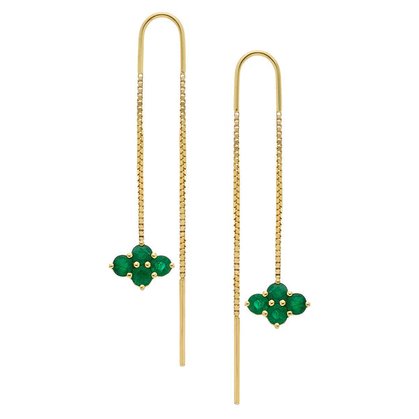 Asher 2-Sided Threaders Yellow Gold Emerald