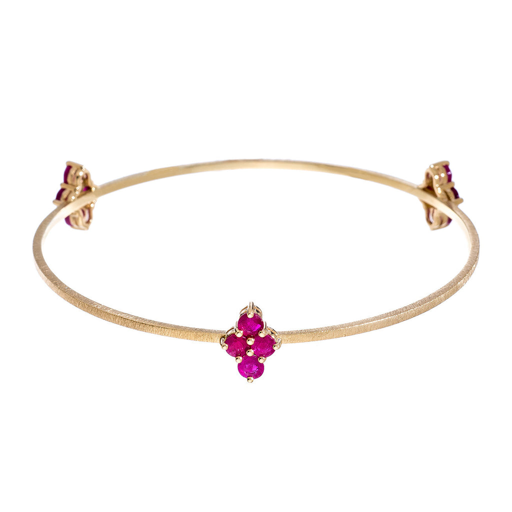 Asher 3-Charm Bangle Yellow Gold Ruby