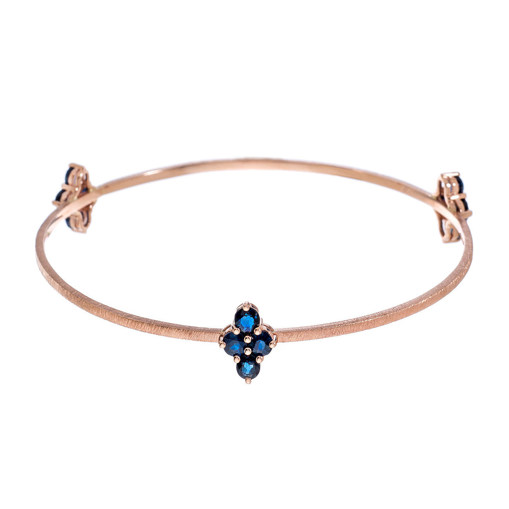 Asher 3-Charm Bangle Rose Gold Sapphire