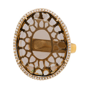 Elisha Ring Yellow Gold Smokey Quartz