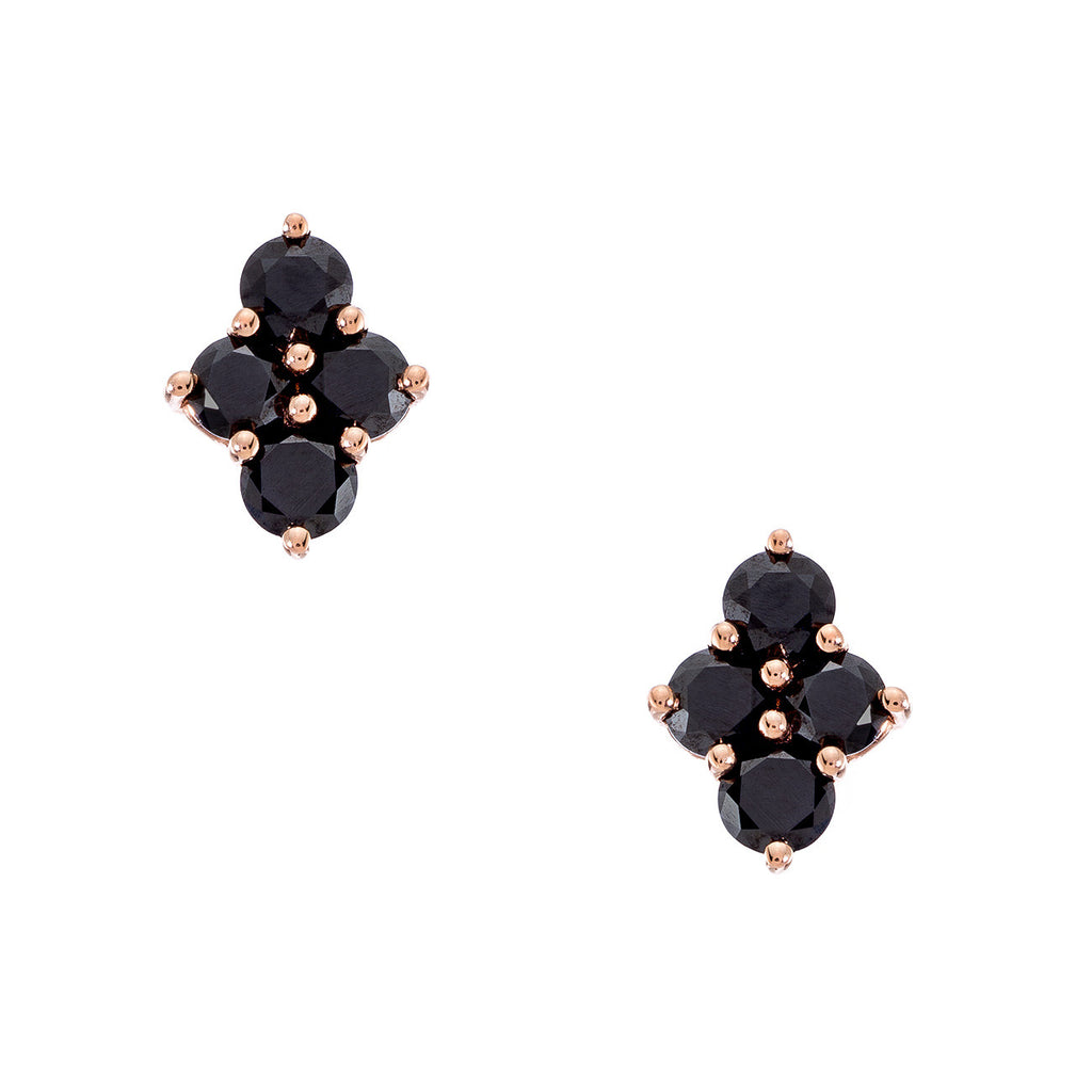 Asher Studs Rose Gold Black Diamond