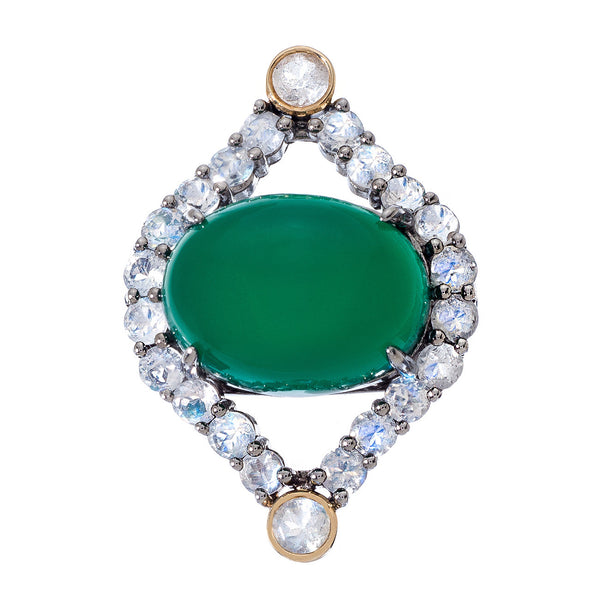 Courtney Ring Silver Green Onyx Moonstone