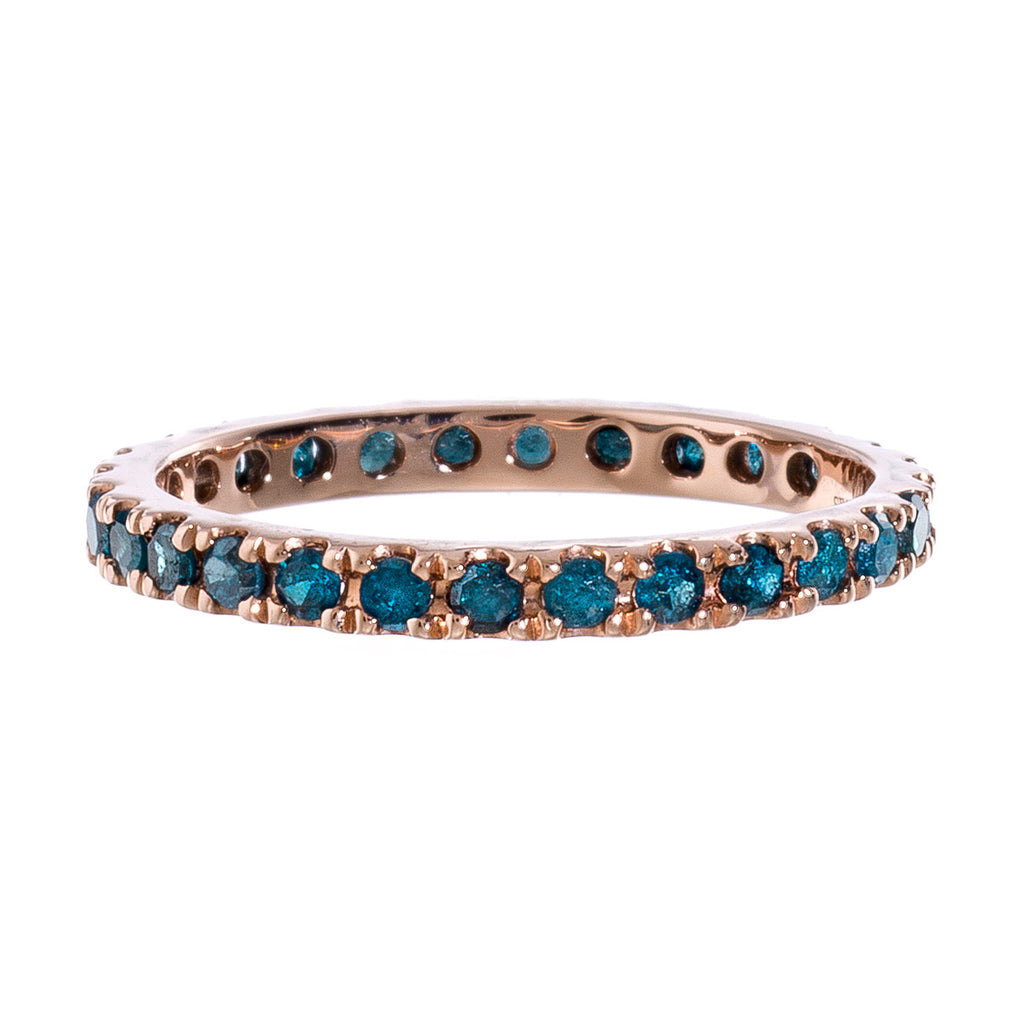 Josephine Band Rose Gold Blue Diamonds 2mm