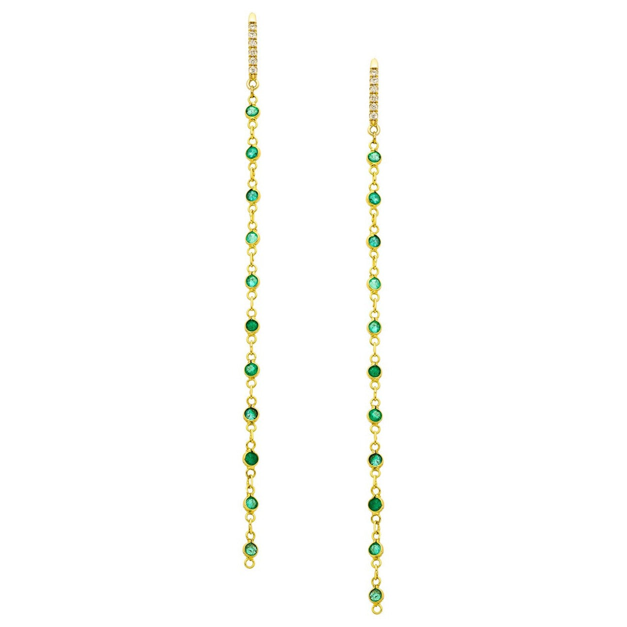 Lola Earrings  Emerald Yellow Gold