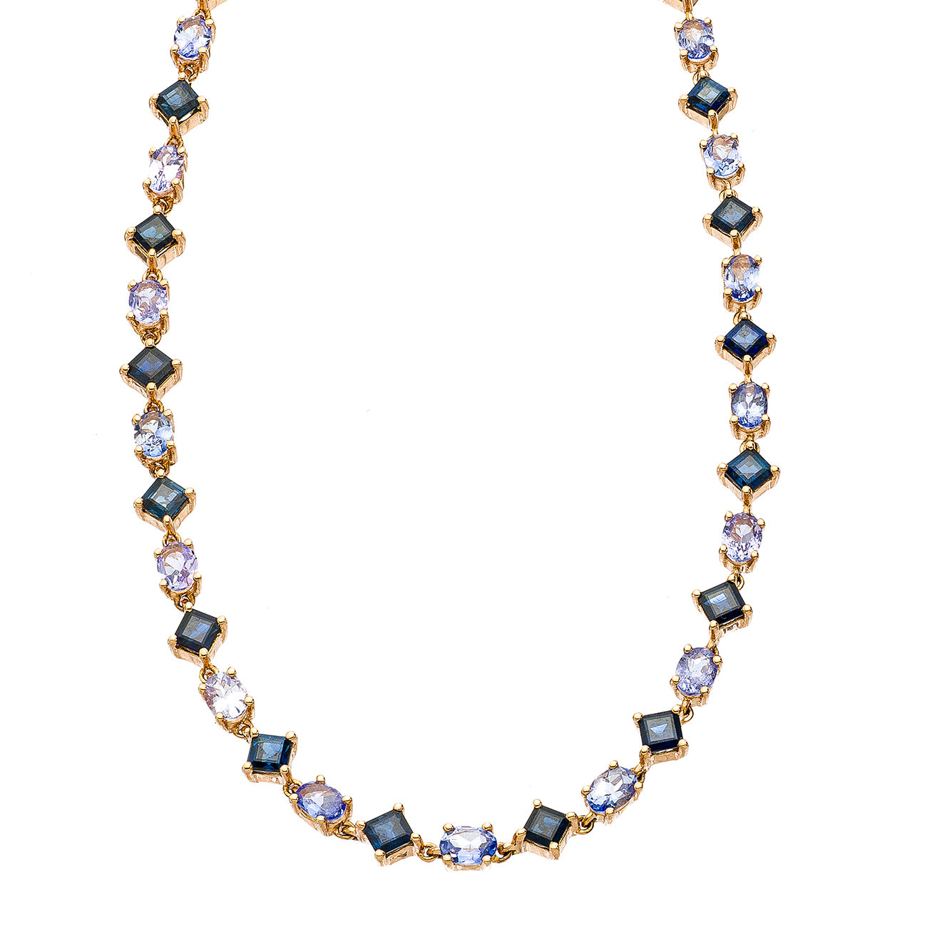 Maya Necklace 18k Rose Gold Sapphire Tanzanite