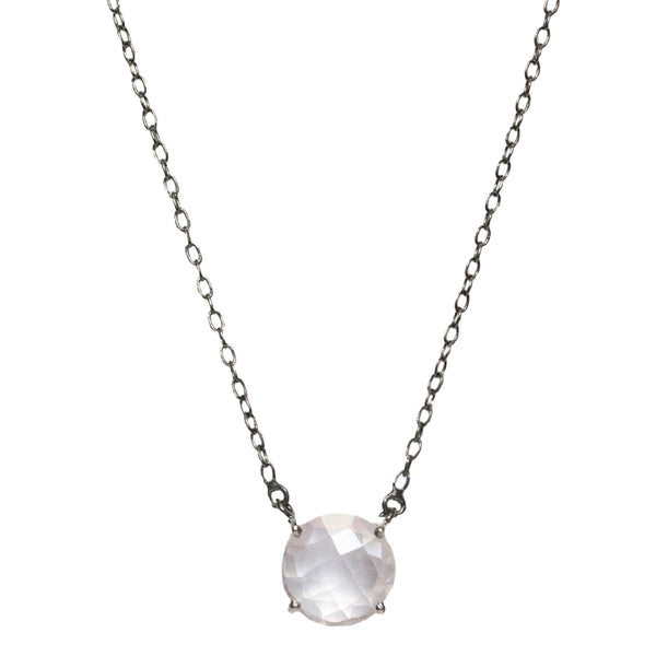 Gemma Necklace 12mm Silver Rose Quartz