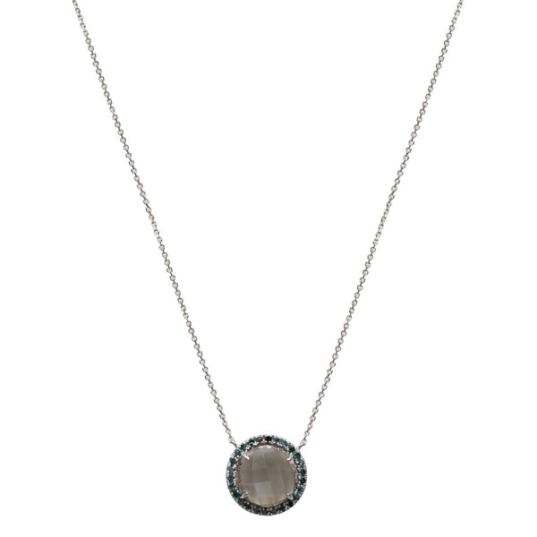 Jacklyn Necklace White Gold Grey Moon Blue Diamond