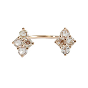 Asher Double Ring Rose Gold Rose Cut Diamond