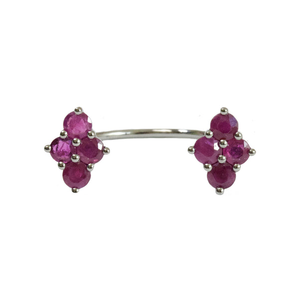 Asher Double Ring Silver Ruby