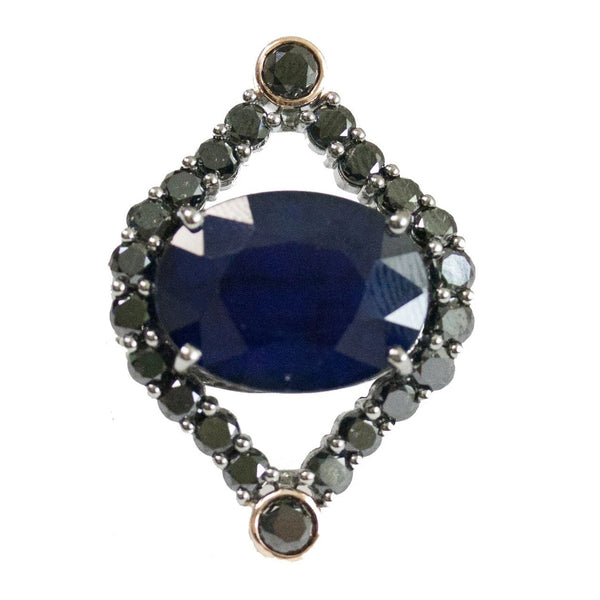 Courtney Ring Silver Sapphire Black Diamond