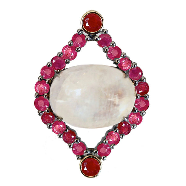 Calley Ring Silver Moonstone Ruby