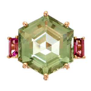 Iris Ring Rose Gold Green Amethyst Pink Tourmaline