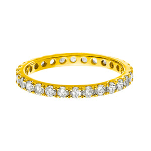Josephine Band Yellow Gold White Diamond 2mm