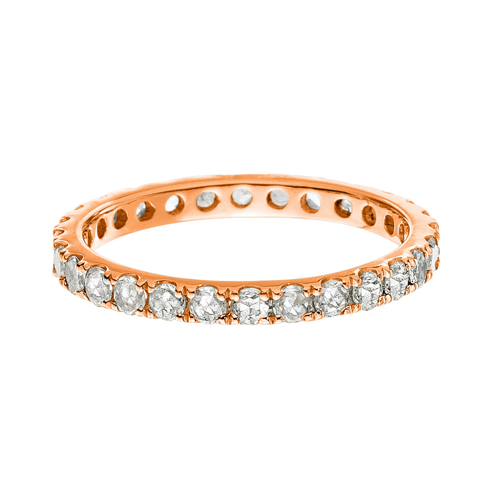 Josephine Band Rose Gold White Diamond 2mm
