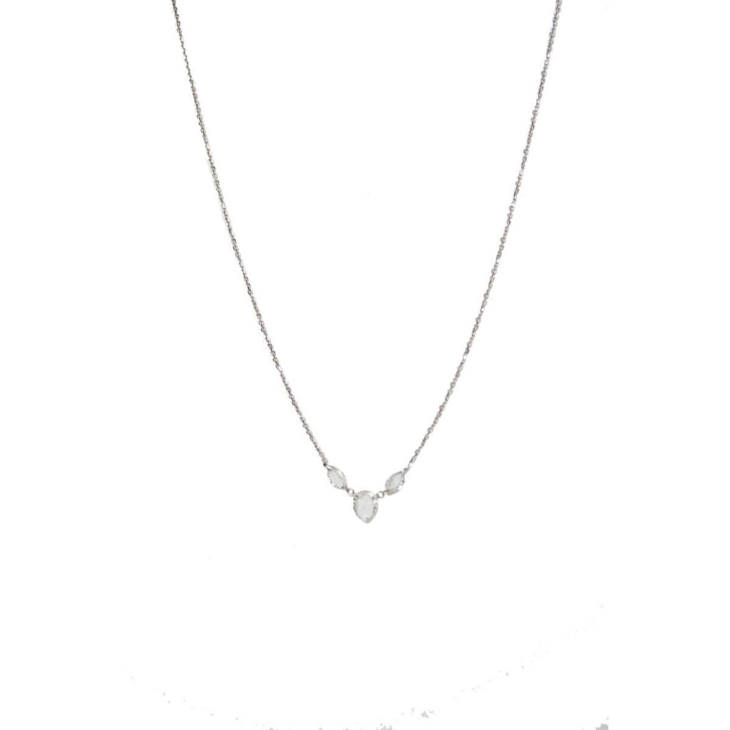 Pear Triple Necklace 18k White Gold