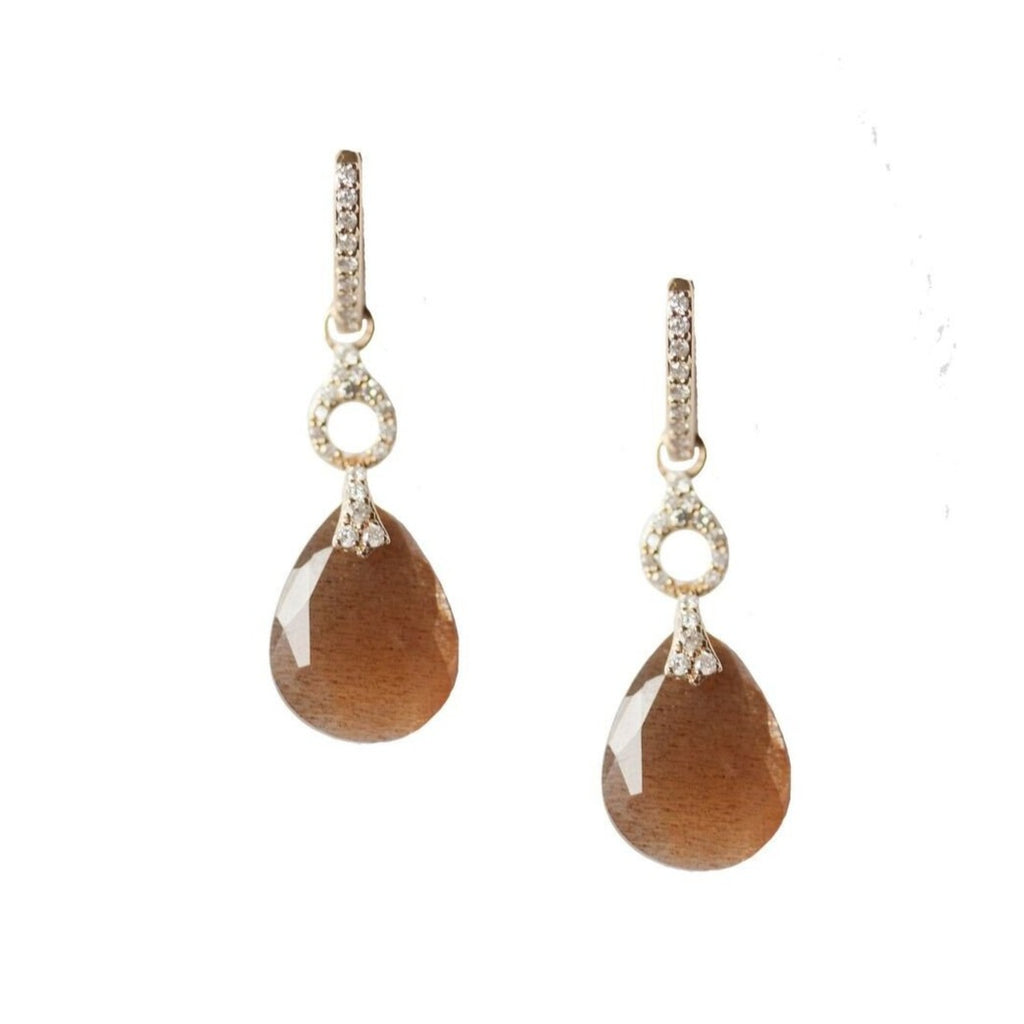 Gloria Earrings Pear Yellow Gold Golden Moonstone