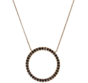 Robin Necklace Rose Gold White/Black Diamond Light Chain