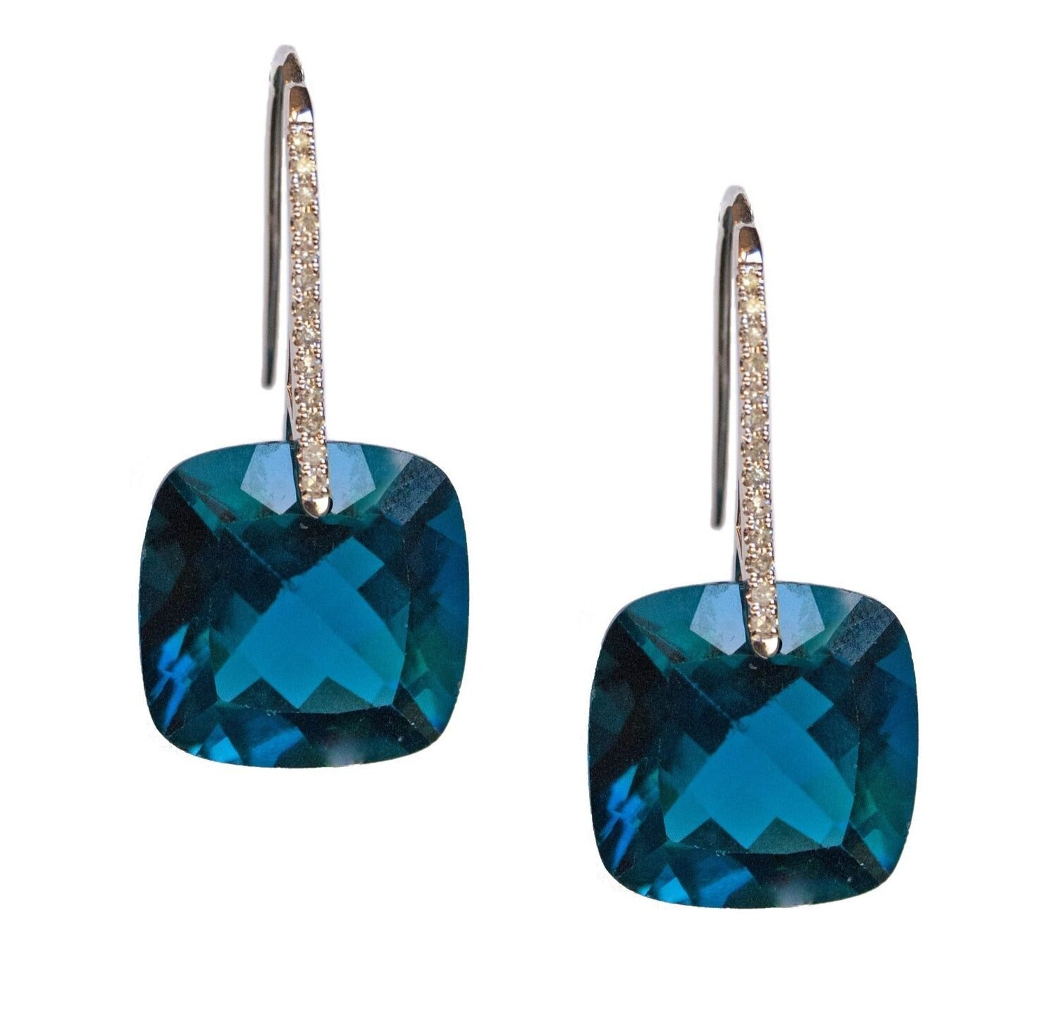 Reid Earrings White Gold London Blue Topaz