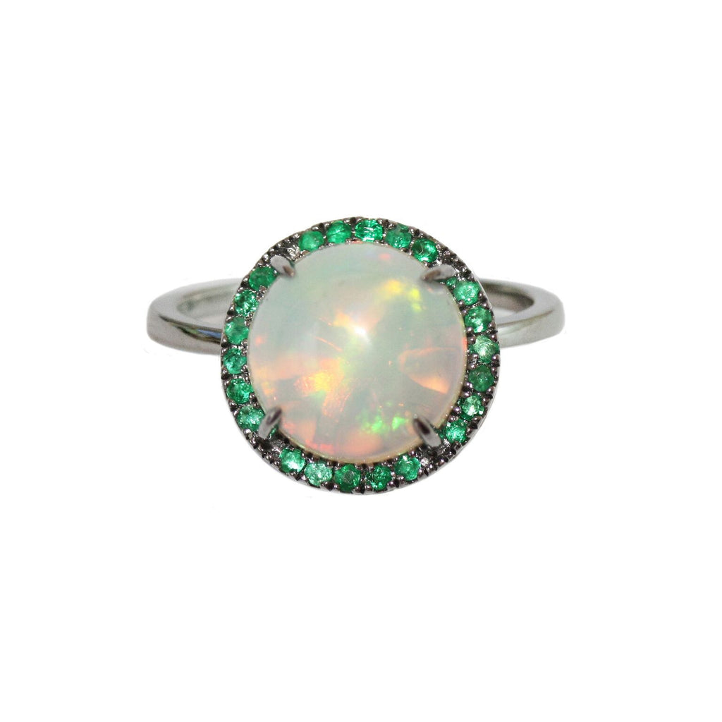 Jacklyn Ring Silver Opal Emerald