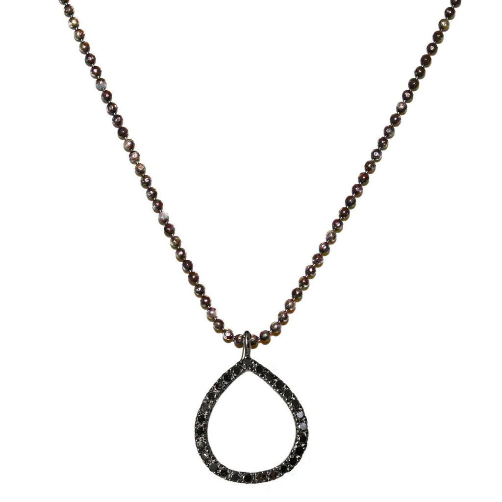 Chloe Necklace Silver Black Diamonds