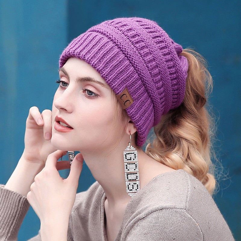 de405c3ee0e31f ... Load image into Gallery viewer, Soft Knit Ponytail Beanie ...