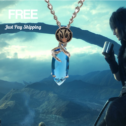 Final Fantasy Crystal Blue Pendant Necklace