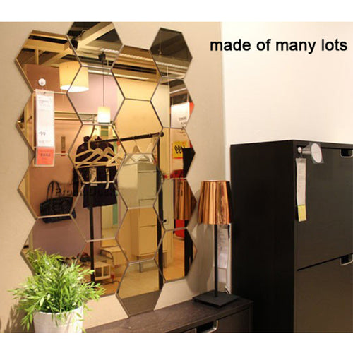 7 Pcs Geometric Hexagon Mirror Wall Stickers