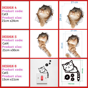 Peel & Stick Cat Dog 3D Stickers for Wall, Fridge, Toilet, Bathroom