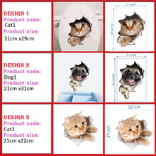 Load image into Gallery viewer, Peel & Stick Cat Dog 3D Stickers for Wall, Fridge, Toilet, Bathroom