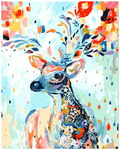 DIY Painting By Numbers - Colorful Sika Deer - SuperShopSale.com