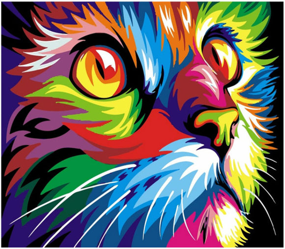 DIY Painting By Numbers - Colorful Cat Head - SuperShopSale.com