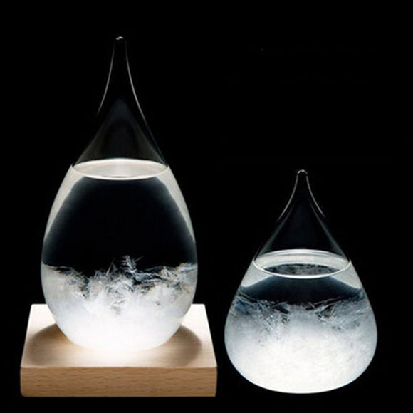 Weather Predicting Storm Glass  With Wooden Base