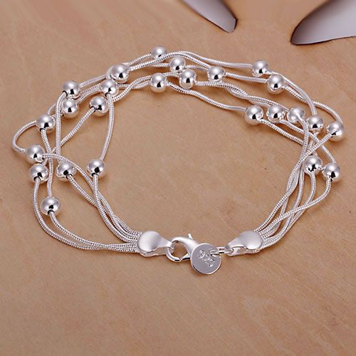 Silver plated Cuff Chain Charm Five lines light bead Bracelet (Free Shipping)