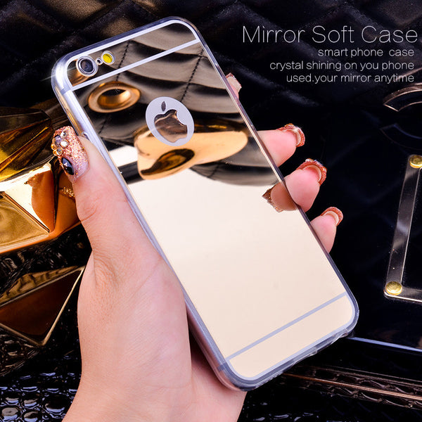 Rose Gold Luxury Bling Mirror Case For Iphone 6 6S Plus 5.5 Clear TPU Edge Ultra Slim Flexible Soft Cover For Iphone6 6S 4.7inch FREE + SHIPPING