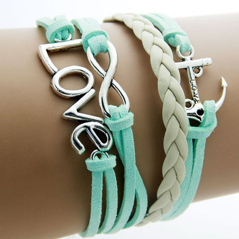 Charm Vintage Anchor Rudder 8 Bronze Wax Cords Multilayer Braided Bracelet For Women (Free Shipping)