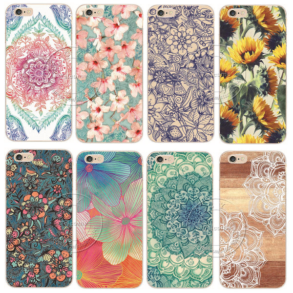 Shell Back Case Cover Printing Mandala Flower Datura Floral Cell Phone Case For Apple iPhone 6, 6S Plus,5S, 5C, FREE + SHIPPING