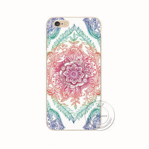 Shell Back Case Cover Printing Mandala Flower Datura Floral Cell Phone Case For Apple iPhone 6, 6S Plus,5S, 5C, FREE + SHIPPING - SuperShopSale.com