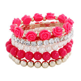 Flower Temperament Mix Beads Stretch Bracelet (Free Shipping)