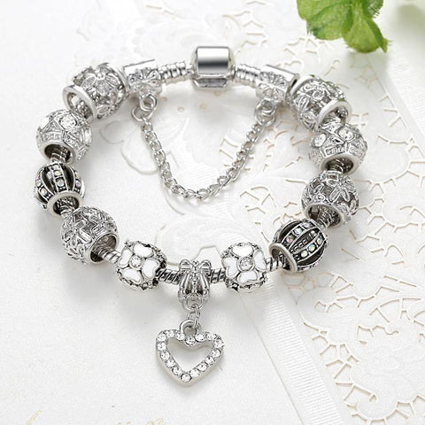 Fashion Silver Heart Charms Bracelet Bangle for Women (Free Shipping)