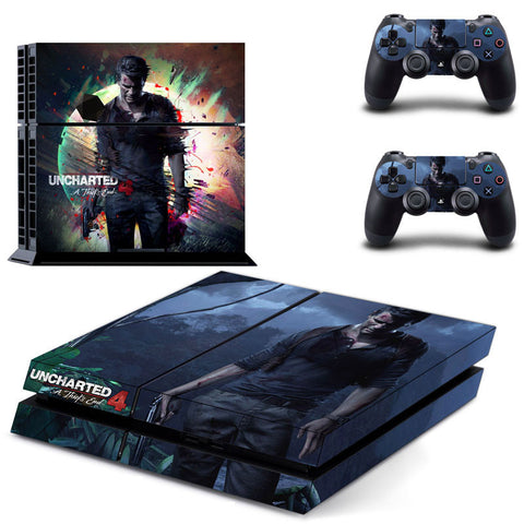 Uncharted 4 PS4 Skin Sticker For Sony Playstation 4 PS4 Console Protection Film and Cover Decals of 2 Controller