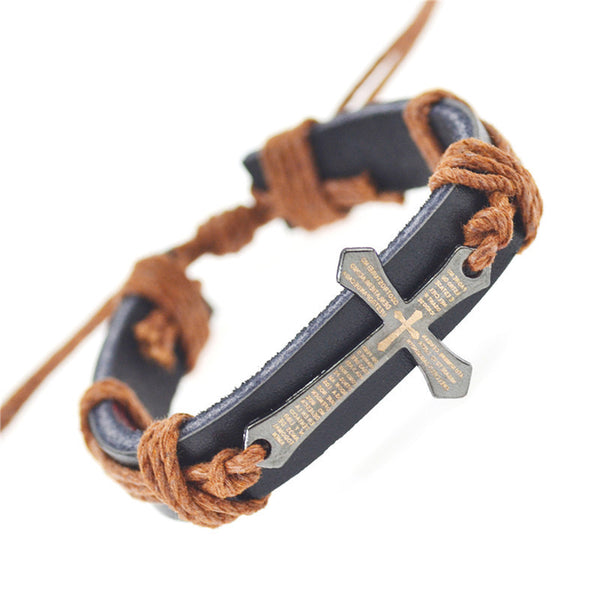 Handmade Braid Genuine Leather Wrap Charm Cross Bracelets For Men and Women (Free Shipping)
