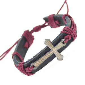 Handmade Braid Genuine Leather Wrap Charm Cross Bracelets For Men and Women (Free Shipping) - SuperShopSale.com